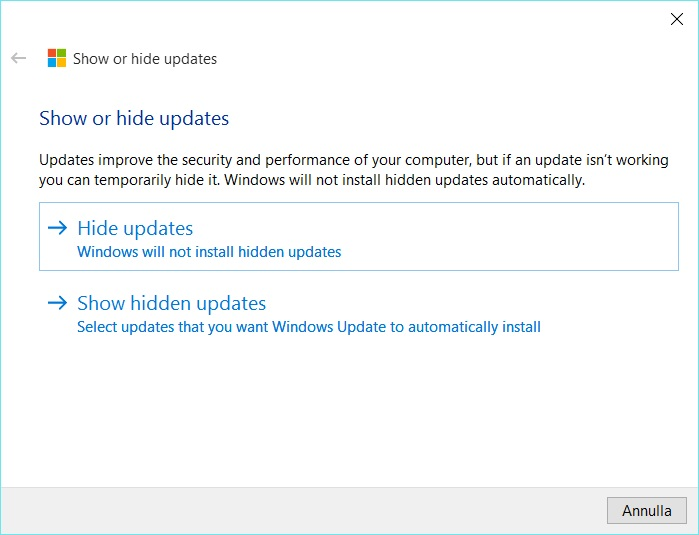Hide updates / Show hidden updates