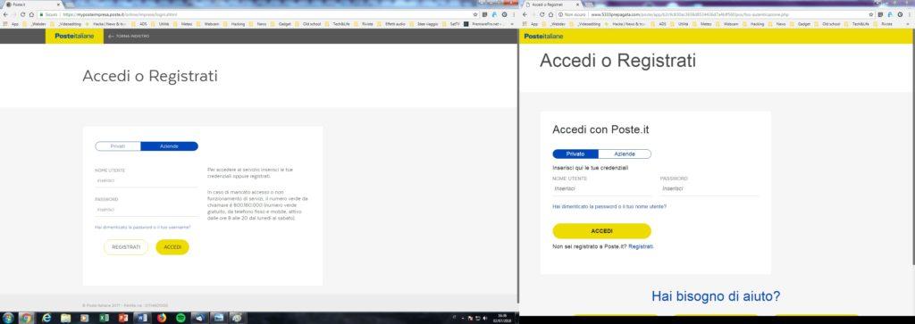 Sulla sinistra la pagina ufficiale delle Poste. Sulla destra il sito di phishing. Come si può notare, inoltre, nella barra degli indirizzi sono riportati i due differenti URL: l'ufficiale e l'ufficioso che ci aiutano a individuare l'intruso